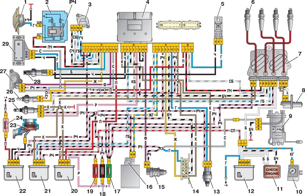 Схема электрооборудования ВАЗ-2105, идентична схеме электрооборудования ВАЗ-2107 (2104).