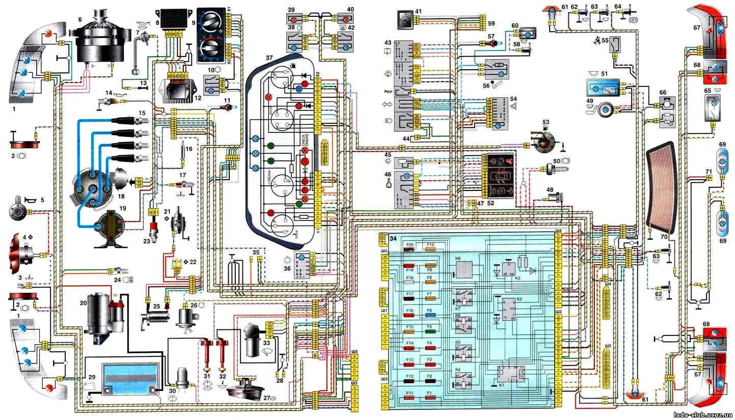 Схема электропроводки 21103